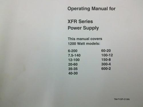 Xantrex TM-F1OP-C1XN XFR Series Power Supply - Operating Manual