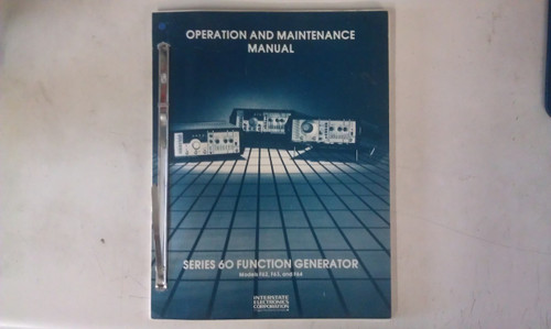 Interstate Electronics Series 60 Function Generator Instruction Manual - 1982