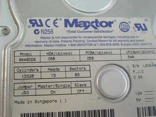 "Dell 6.4GB 3.5"" IDE Hard Drive - Maxtor 86480D6 (06020)"