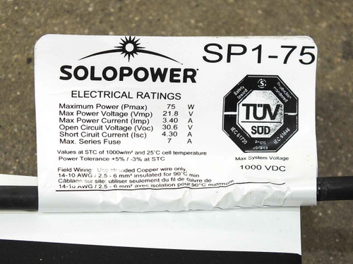 SoloPower SP1-75 75 Watt 22 Volt 7-Ft Flexible Lightweight CIGS Solar Panel MC4