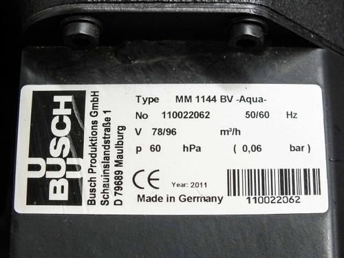 Busch MM 1144 BV  3.5 HP Mink Dry Vacuum Pump 57 ACFM 3 Phase