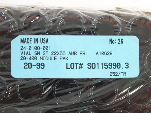 Comar 24-0100 12ml Amber Vials 22 mm x 55 mm with Screw Caps - Lot of 252 Units