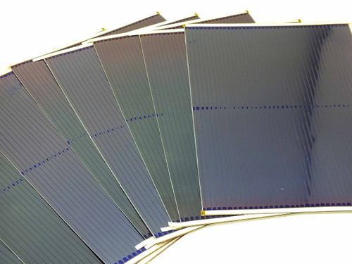 Lot of 10 Uni-Solar Amorphous Solar Cells 7.5W 1.6V - Finished L-Strip AA - DIY