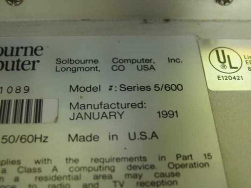 Solbourne 5/600 Vintage Computer Server w/ Hard Drive - Does Not Power On -As Is