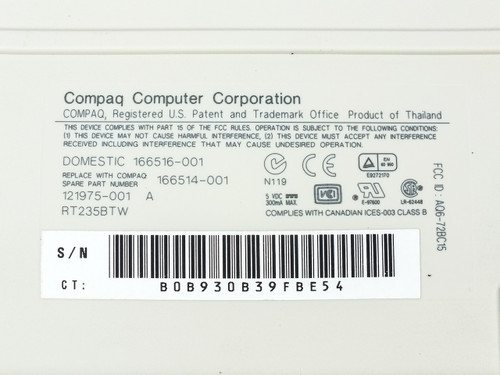 Compaq PS/2 Keyboard Spacesaver  121975-001