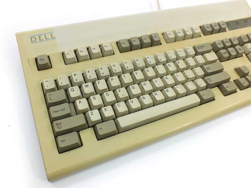 "Dell GYUM97SK VINTAGE Rare ""Old Logo"" Mechanical PS/2 Keyboard AT101 - Yellowed"