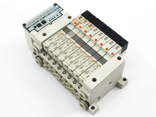 SMC EX120-SSH1 Serial Interface Unit with Manifold & 8 VQ1100-5 Solenoid Valves