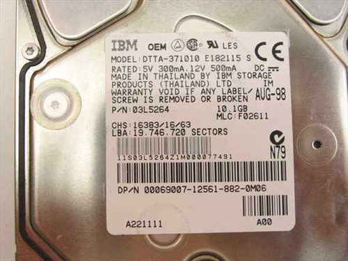 "Dell 10.1GB 3.5"" IDE Hard Drive - IBM 03L5264 69007"