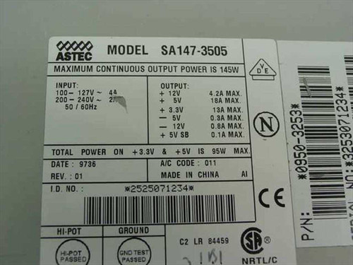 HP 145 W ATX Power Supply - Astec SA147-3505 (0950-3253)