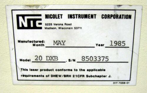 Nicolet 20DXB FTIR Spectrometer - Untested / AS-IS