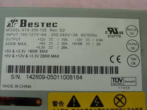 Bestec ATX-300-12E 300W ATX Power Supply for Desktop Computer