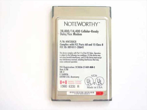 Noteworthy PCMCIA Data Fax Modem 28,800/14,400 (NW288CR)