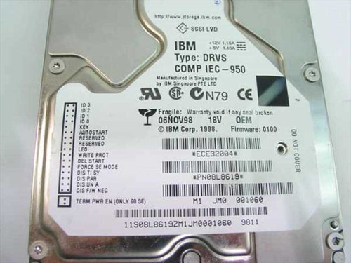 "IBM 18GB 3.5"" HH SCSI Hard Drive 68 Pin Type DRVS 08L8619"
