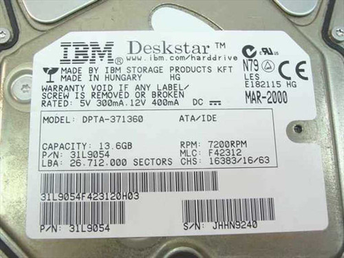 "IBM 13.6GB 3.5"" IDE Hard Drive (31L9054)"