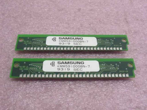 Samsung KMM591000BN-7 Pair of 30-Pin Ram - 1MX9 70ns Memory Kit (2x1MB)