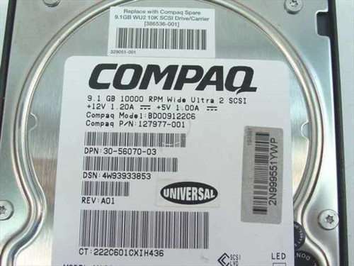 """Compaq 9.1GB 3.5"""" SCSI Hard Drive 10000 RPM ULtra2 80 Pin (127977-001)"""