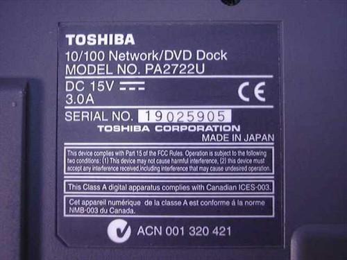 Toshiba PA2722U 10/100 Network / DVD Laptop Dock Portege 7000