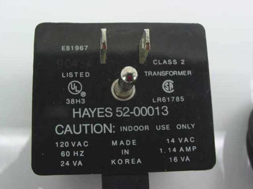 Hayes 52-00013 Power Supply 14 VAC 1.14 Amp 16VA Special Connector for Modems