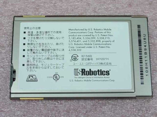 US Robotics XJ1560J  56K PCMCIA modem with X Jack brand new