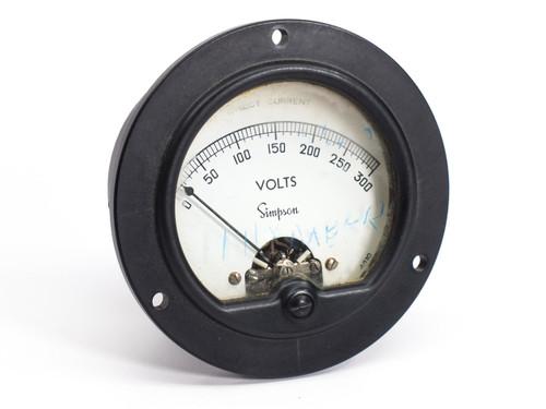 Simpson Electric Model 25  0-300 Direct Current Volts Gauge