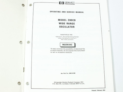HP 200CD  Wide Range Oscillator Operating and Service Manual
