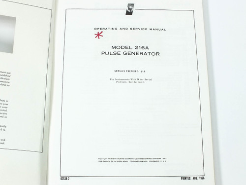 HP 216A  Pulse Generator Operating and Service Manual