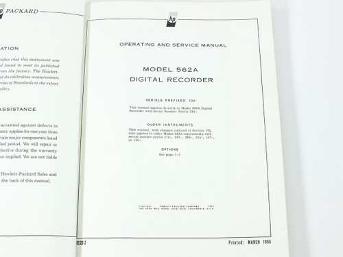 HP 562A  Digital Recorder Operating and Service Manual