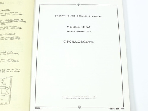 HP 185A Oscilloscope Operating and Servicing Manual 01103-2