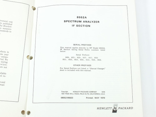 HP 8552A  Spectrum Analyzer IF Section Operating and Service Manual