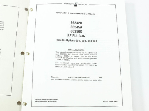 HP 86245-90001 86242D/86245A/86250D RF Plug-In Operating and Service Manual