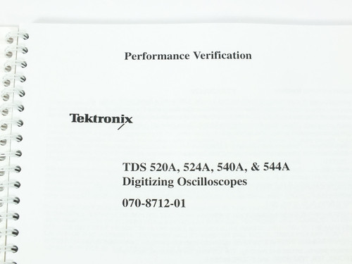 Tektronix TDS 520A/524A/540A/544A  Digitizing Oscilloscopes Perf. Verification