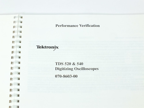 Tektronix TDS 520/540  Digitizing Oscilloscopes Performance Verification