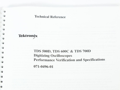 Tektronix 071-0496-01  TDS 500D/600C/700D Digitizing Oscilloscope Tech Reference