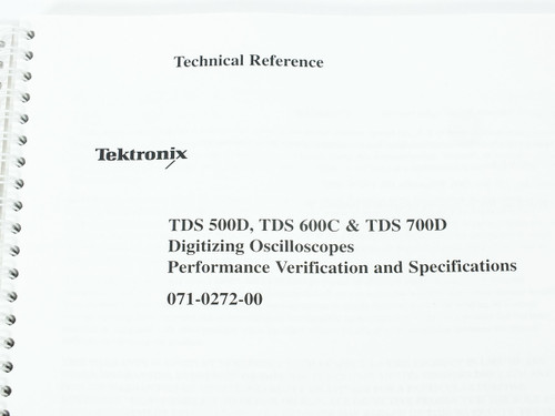 Tektronix 071-0272-00  TDS 500D/600C/700D Digitizing Oscilloscope Tech Reference
