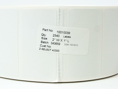 "Zebra 10010039 Thermal Transfer Label Roll 2"" x 1"" WHITE Z-Select 4000D"