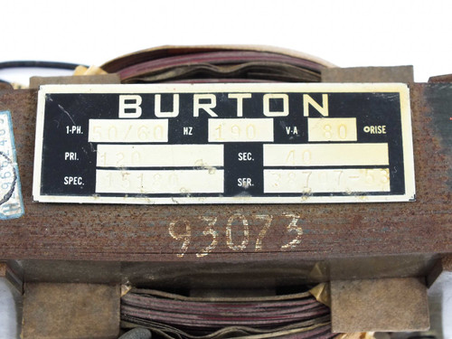 Burton 15180 AC-AC Transformer PRI: 120 VAC SEC: 8 / 20 / 32 / 40 VAC Multi-Out