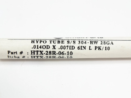 """Small Parts HTX-28R-06-10 Hypodermic Tubing 304 S/S OD: 0.014"""" ID: 0.007"""" L:6"""""""