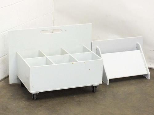 "Custom 27.5"" x 15"" x 18""  Plastic Mobile 6 Section Acid Mix Bath on Wheels"
