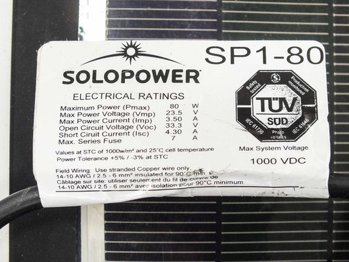 Solopower SP1-80 80 Watt 23 Volt 7-Ft Flexible Lightweight CIGS Solar Panel MC4