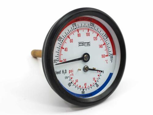 """ENFM 006-9801576 3"""" Tridicator Gauge (Temperature & Pressure) 0-320 F 0-75 PSI"""