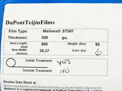 Dupont Teijin Melinex(R) ST507 Solar Panel Top Sheet Polyester Film 500ga 95lbs