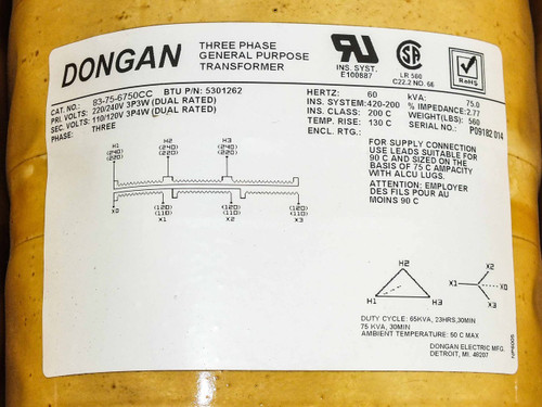 Dongan Three Phase General Purpose Transformer BTU P/N 5301262 83-75-6750CC