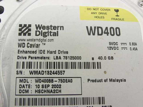 "Western Digital WD400BB 40GB 3.5"" Enhanced IDE Hard Drive - WD Caviar"