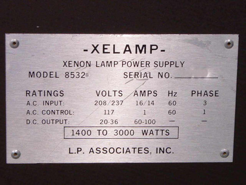 L.P. Associates 8532 Xelamp Xenon Lamp Power Supply 20/36 V DC 60/100 A - As Is