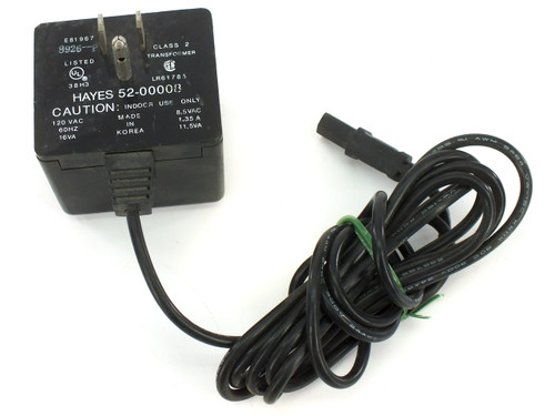 Hayes 52-00008 Power Supply 8.5 VAC 1.35 Amp 11.5 VA Special Connector Modems