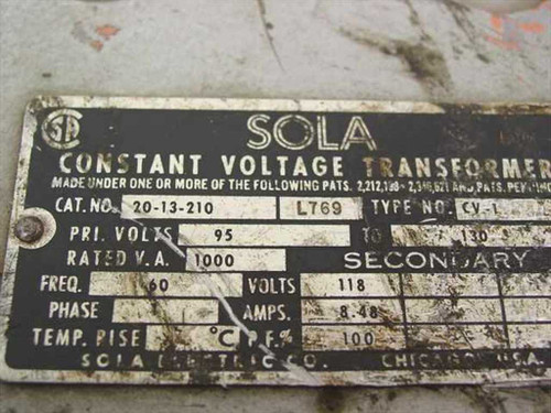 Sola 20-13-210 1:1 95~130 to 118VAC Constant Voltage Transformer 1000 VA - As Is