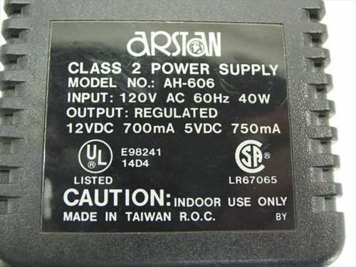 Arstan AC Adapter 12VDC 700mA 5VDC 750mA AH-606