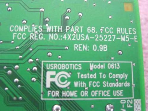 US Robotics 56K ISA Internal Modem - Model 0613 8725600