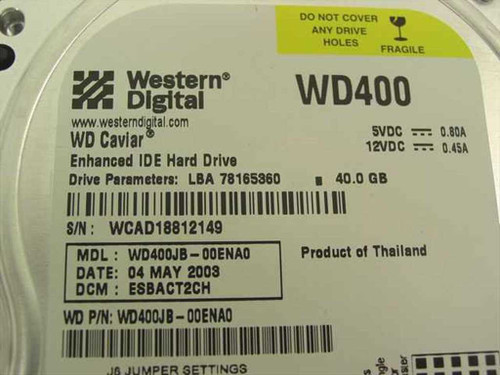 "Western Digital 40GB 3.5"" IDE Hard Drive (WD400JB)"