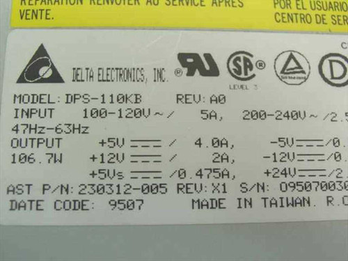 AST 230312-005 110W Power Supply - Delta DPS-110KB - 501681-001 PowerStation III